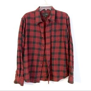 3/$30 Hurley men's red & black flannel size L